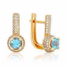 Золотые серьги Шарлотта с голубым топазом и фианитами