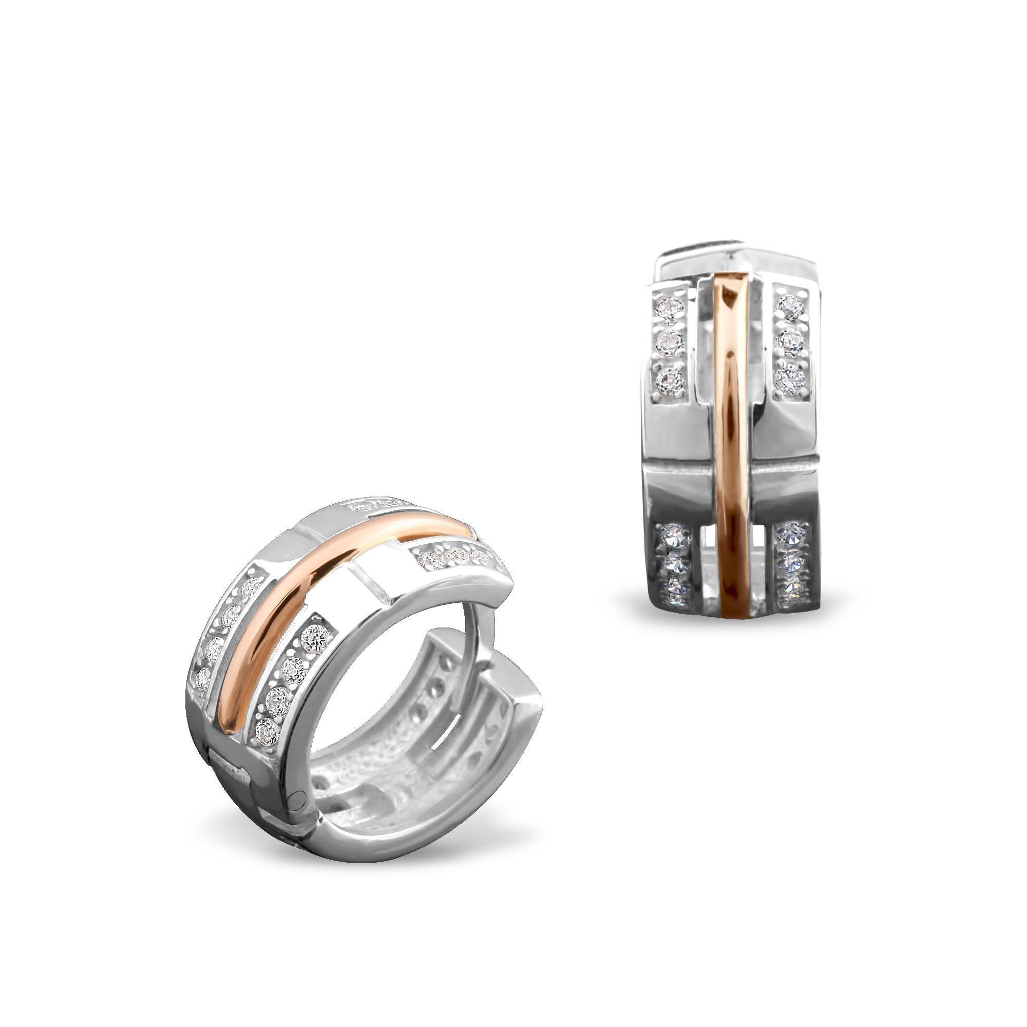 Серебряные серьги Армель с золотыми накладками, фианитами и родием
