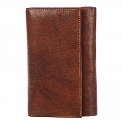 Кожаный кошелек Genuine Leather mg0098 коричневого цвета на кнопке