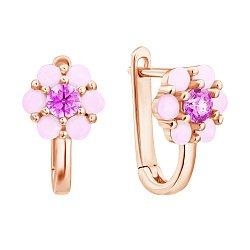 Золотые сережки Нежная ромашка с розовым фианитом и синтезированными розовыми опалами 000067782