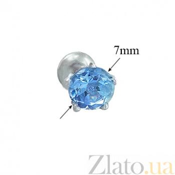 Серебряные пуссеты с голубым топазом Очарование 2095/9р топаз6