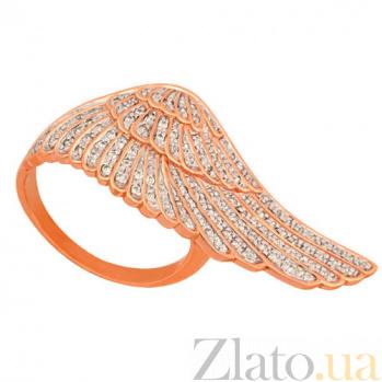 Кольцо из красного и белого золота Крыло с цирконием VLT--ТТ1273