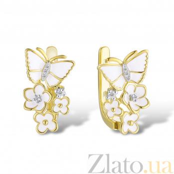 Золотые серьги Цветочное лето в желтом цвете с бабочками, цветами, бриллиантами и белой эмалью 000096872