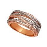 Кольцо с циркониями Элиза из красного золота