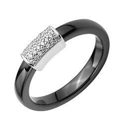 Кольцо из черной керамики и серебра с фианитами 000131771