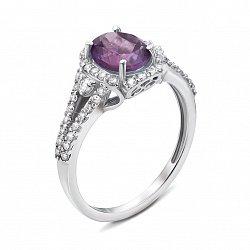 Серебряное кольцо с аметистом и фианитами 000136242