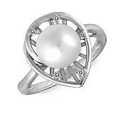 Кольцо Лара из белого золота с бриллиантами и жемчугом