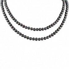 Ожерелье из черного жемчуга Эстель с серебряным замком, р.100