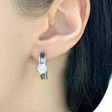 Серебряные серьги Скай с цирконием в стиле Булгари