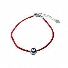 Браслет из серебра и красной нити Оберег Назар с цветной эмалью