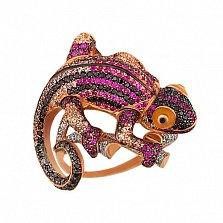 Кольцо из красного золота Рептилия с фианитами