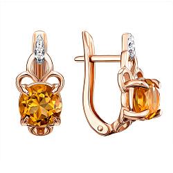 Золотые серьги в комбинированном цвете с цитринами и цирконием 000136726
