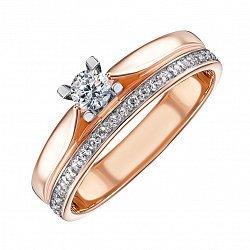 Золотое кольцо с цирконием 000071103