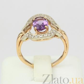Золотое кольцо с аметистом и фианитами Азерра VLN--112-1209-4