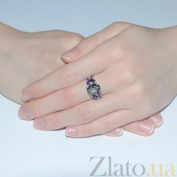 Серебряное кольцо Анжелика с фиолетовым цирконием Анжелика к/фиол