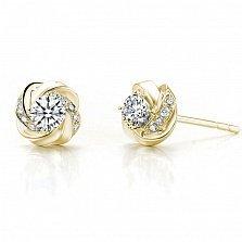 Серьги-пуссеты Дикая роза в желтом золоте с бриллиантами, 0,4ct
