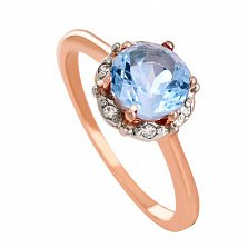 Золотое кольцо с топазом и фианитами Ада