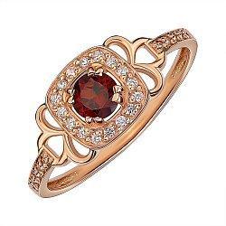 Кольцо из красного золота с гранатом и цирконием 000141457