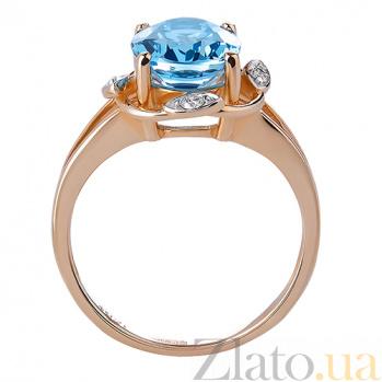 Кольцо из красного золота Бирма с голубым топазом и бриллиантами TRF--1121521н/топаз