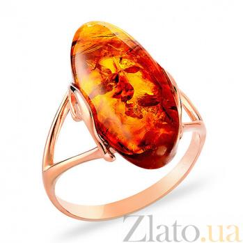 Золотое кольцо с янтарем Камень Солнца SUF--153293
