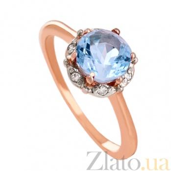 Золотое кольцо с топазом и фианитами Ада VLN--112-1534-1