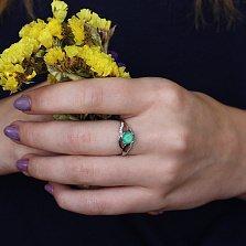 Серебряное кольцо Унисон с зеленым агатом и фианитами