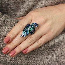 Серебряное кольцо Царский павлин с разноцветными фианитами