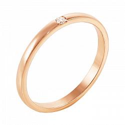 Обручальное кольцо Судьба с бриллиантом в красном золоте