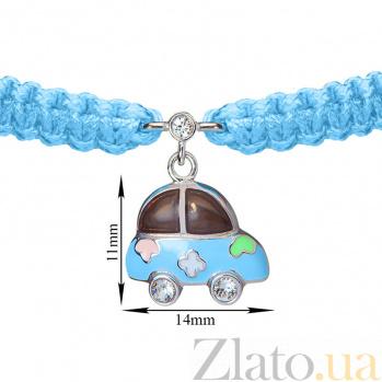 Детский плетеный браслет Машинка с эмалью и фианитом, 14-11см 000080595