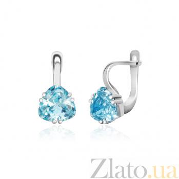 Серьги из серебра Альфинур с голубыми фианитами 000024596