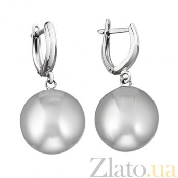 Серебряные серьги Матовый шар LEL--86017 м