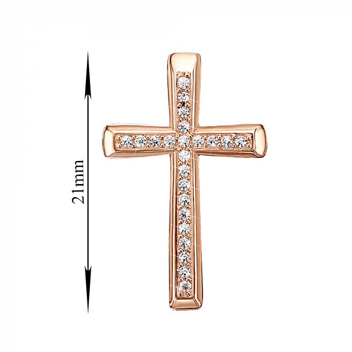 Золотой декоративный крестик Сонет с кристаллами Swarovski 000129119