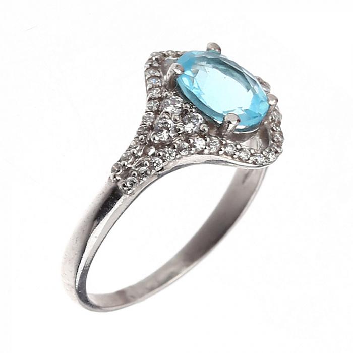 Серебряное кольцо Алисия с голубым топазом и белыми фианитами 000079680