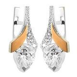 Серебряные серьги с золотыми вставками и фианитами Валентинка