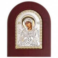 Семистрельная икона серебряная с позолотой