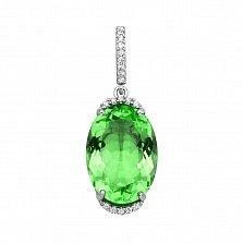 Серебряный кулон с зеленым кварцем и фианитами 000133709
