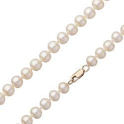 Жемчужное ожерелье Эдит с золотым родированным замком Ø7,5-8.0мм