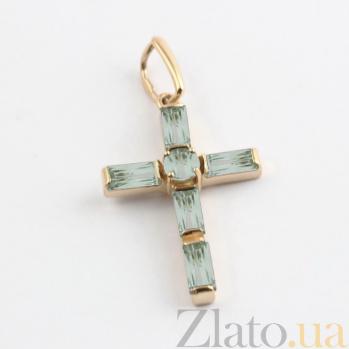 Золотой крестик с зелеными аметистами Эстетика ар-деко VLN--114-004-5