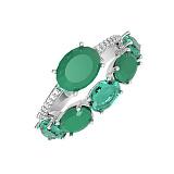 Серебряное кольцо с зеленым агатом и фианитами