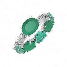 Серебряное кольцо Сатин с зеленым агатом, зеленым кварцем и фианитами