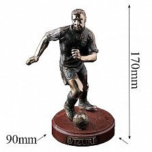 Бронзовая скульптура Футболист с холодной эмалью на мраморной подставке