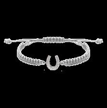 Детский плетеный браслет с серебряной вставкой и фианитами Подкова на удачу, 10-10см