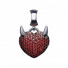 Серебряный шарм с синтетической шпинелью Сердце с рожками