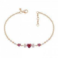 Браслет из красного золота с кристаллами Swarovski 000138818