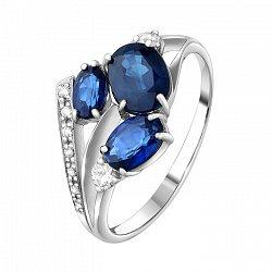 Кольцо из белого золота с сапфирами и бриллиантами 000064816