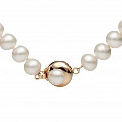 Ожерелье из белого жемчуга Пуговка с золотым замком