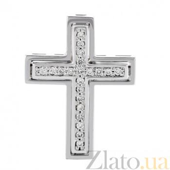 Крестик из белого золота с бриллиантами Смирение KBL--П180/бел/брил