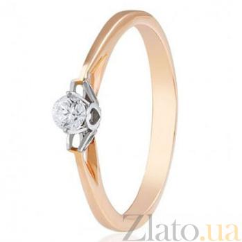 Золотое кольцо с одним цирконием Классика EDM--КД0480