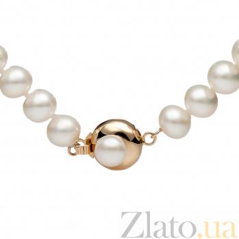 Ожерелье из белого жемчуга Пуговка с золотым замком 000030655