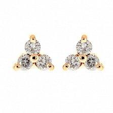 Золотые серьги с бриллиантами Хлоя